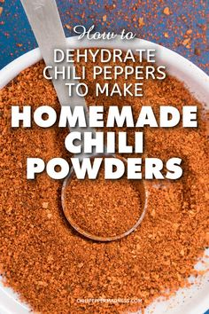 "Learn how to dehydrate your chili peppers with a dehydrator and grind them into homemade chili powders. Here is the recipe method, from the author of ""The Spicy Dehydrator Cookbook"". Homemade Chili, Homemade Spices, Homemade Seasonings, Dehydrated Vegetables, Dehydrated Food, Sauces, Dried Peppers, Canning Recipes, Canning Tips"
