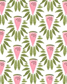 watermelon & leaves print