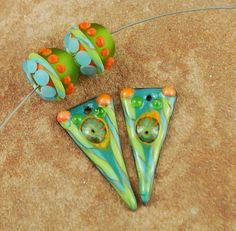 Enameled Copper Charms, Earring Beads, Lampwork Beads, Enamel Components, Lime, Aqua,  #348 by CC Design