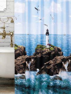 Világítótorony zuhanyfüggöny Aquarium, Curtains, Shower, Bathroom, Prints, Goldfish Bowl, Rain Shower Heads, Washroom, Blinds