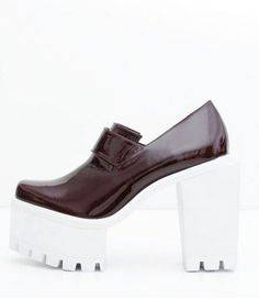 Jamie Wei Huang SS15 shoes heels White Square Wine Leather High Heel