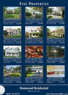 This Hammond ad featuring some of the most distinctive properties available in and around Greater Boston appears in the November 7 European edition of the Wall Street Journal