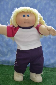 """Cabbage Patch Doll Clothes - Handmade for 16"""" - 18"""" Girl Dolls - Pink  and Purple Sweats Outfit"""