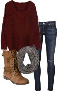 clothes. jeans, burgundy sweater, brown shoes