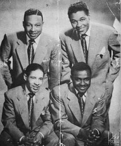 "The Shadows, who were from New Haven, CT. (L-R Top) Jasper Edwards, Sam McClure; (L-R Bottom) Raymond Reid, Scott King. Had a minor hit on ""Siting In"" records called I'll never let you go. Later recorded for Decca records...."