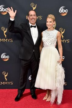 Comedian Jerry Seinfeld sported a classic tuxedo on the runway with his wife Jessica at the 68th Annual Primetime Emmy Awards.