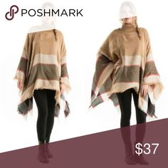 🍂HP🍂Tan Turtle Neck Poncho Tan Poncho! Perfect for fall and winter! One size fits most! S-2X 100% acrylic Sweaters Shrugs & Ponchos