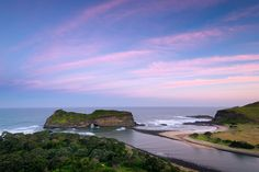 Landscape photo of a pink sunset over Hole in the Wall, a freestanding cliff on South Africa's coastline I Am An African, Kwazulu Natal, Pink Sunset, Landscape Photos, Cliff, South Africa, Destinations, Coast, Ocean