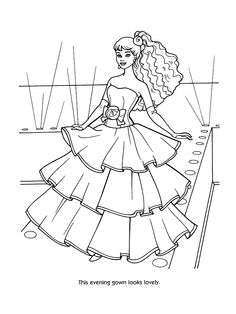 Barbie Princess Coloring page for girls  Dresses  For the kids