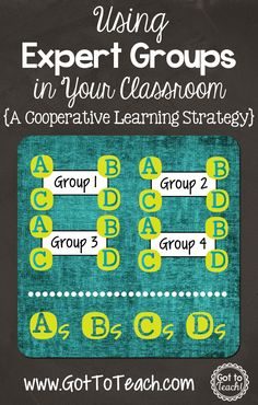 Groups: A Cooperative Learning Strategy {Post 1 of Got to Teach!: Expert Groups: A Cooperative Learning Strategy {Post 1 of to Teach!: Expert Groups: A Cooperative Learning Strategy {Post 1 of Cooperative Learning Strategies, Engage In Learning, Teaching Strategies, Teaching Tips, Siop Strategies, Cooperative Games, Blended Learning, Teaching Latin, Visible Learning