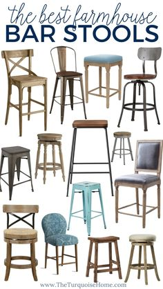 FARMHOUSE BAR STOOLS Lot of four rustic farmhouse kitchen tall short reclaimed wooden stool silhouette seat custom sizes colors many menu option Modern bar stools in country style 63 Trendy ideasModern bar stools in country Modern Counter Stools, Cool Bar Stools, Bar Stools With Backs, Kitchen Counter Stools, Industrial Bar Stools, Metal Bar Stools, Modern Stools, Farm House Bar Stools, Metal Stool