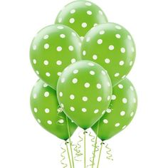 Kiwi Green Polka Dot Balloons 6ct