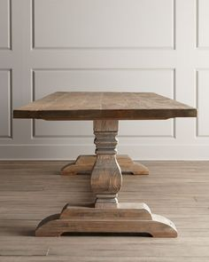 Classic trestle table handcrafted of reclaimed pine. Read more at www.horchow.com Natural Dining Table