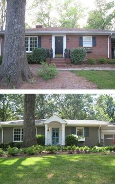 Painting Exterior Brick Before And After - Before After Painted Brick Ranch Style Home Brick Sherwin Curb Appeal 8 Stunning Before After Home Updates Home Should I Paint My Brick House Pros Con. Home Exterior Makeover, Exterior Remodel, Br House, House Front, House Trim, House Paint Exterior, Exterior House Colors, Exterior Shutters, Ranch Exterior