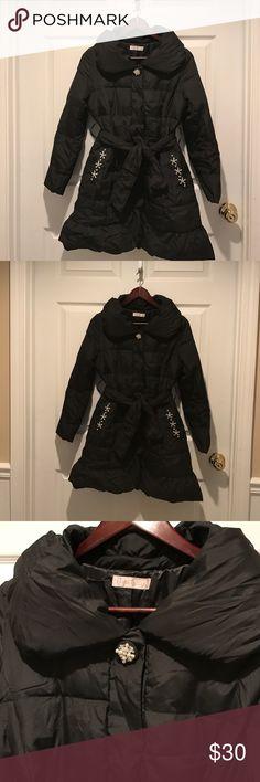 Cute black puff coat Japanese brand: prime pattern, very elegant Jackets & Coats Puffers