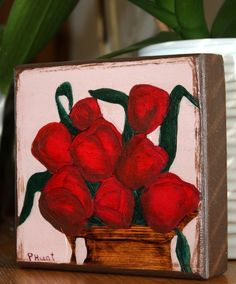 Roses Art Block Original Pyrography Handmade Cubicle  Painting Rose Bouquet Wood #Impressionism