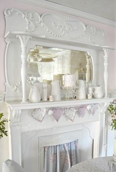 ~Sweet melanie~: sewing, crafting and laughing shabby chic fireplace, victorian fireplace Shabby Chic Shelves, Shabby Chic Dining, Shabby Chic Garden, Romantic Shabby Chic, Simply Shabby Chic, Shabby Chic Farmhouse, Shabby Chic Kitchen, Shabby Chic Homes, Shabby Chic Furniture
