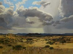 "Eben Van Der Merwe (SA, born Oil, ""Landscape Near Colesberg"", Signed & Dated Titled Verso, 90 x 120 South African Artists, Mountain Paintings, Original Art, Art Gallery, Skyline, Clouds, Nature, Outdoor, Watercolour"