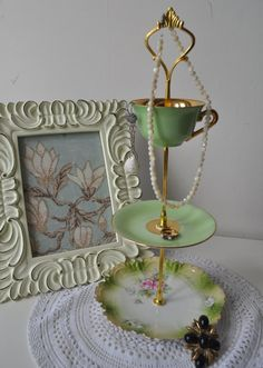 OOAK 3 Tier Jewellery Display or Bonbon Stand - Vintage Mismatched European China Handmade -Golden Limes