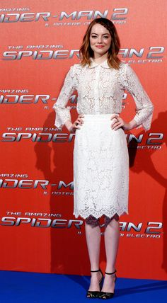 Emma Stone in Dolce e Gabbana total look @ The Amazing Spider-Man 2 Rome photocall