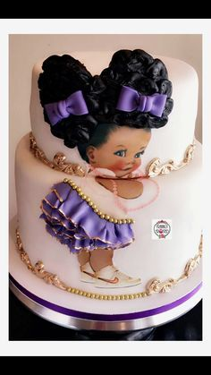Dark Skin Afro Puffs Baby Cake