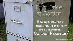 Turn an old metal filing cabinet into a garden planter - tutorial | #Horticool #ApartmentGardening #Gardening