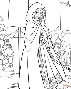 Princess Merida on a Highland Games coloring page from Brave category. Select from 29179 printable crafts of cartoons, nature, animals, Bible and many more. Princess Coloring Pages Printables, Kids Printable Coloring Pages, Disney Princess Coloring Pages, Disney Princess Colors, Princess Merida, Disney Colors, Cartoon Coloring Pages, Coloring Pages To Print, Free Coloring Pages