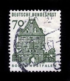 german castle stamps: GERMANY - CIRCA 1964  a stamp printed in the Germany shows Osthofen Gate, Soest, Westfalen, circa 1964 Editorial