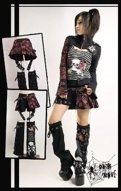 punk rave visual kei jrock japanese skirt pants warmlegs chains gr 38 UK 10 IT44 | eBay