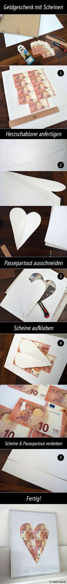 #Geldgeschenk #money #gift #Geldscheine #basteln #Hochzeitsgeschenk #Geschenk -> Mehr auf kreativliste.de