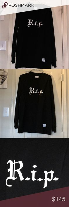 R.I.P. supreme shirt Okay.. so I'm not very familiar with this brand so I can not say whether it is real or fake.. would love if someone who knew would comment???  Shirts in excellent condition Supreme Shirts Tees - Long Sleeve