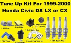 1999-2000 Honda Civic LX DX CX Tune Up Kit: Spark Plug Wire Set, Air Oil Filter #AftermarketProducts