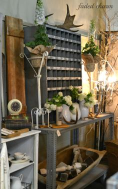 Farm & Frills~ May 2014.  Store showcasing wares in cottage - farmhouse style decorative manner.
