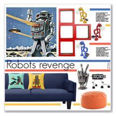 """Robots"" by annatiblog ❤ liked on Polyvore featuring interior, interiors, interior design, home, home decor, interior decorating, Dot & Bo and NOVICA"