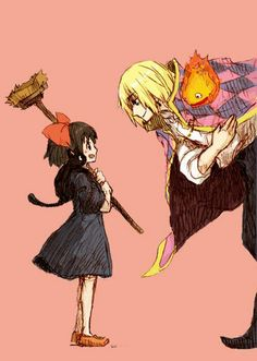 A witch and her cat meeting a wizard and his fire demon.