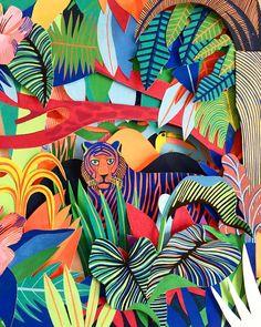 Extrait d'une sculpture de papier réalisée pour ma prochaine exposition qui aura lieu au mois de Juin à Slow Galerie à Paris 🌞❤️🌴… Illustrations, Illustration Art, Slow Galerie, Rainforest Flowers, Tiger Drawing, Jungle Art, Haitian Art, Henri Rousseau, Forest Art
