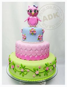 Beautiful Cake Pictures: Colorful Pink Owl Garden Birthday Cake - Birthday Cake, Colorful Cakes, Themed Cakes -