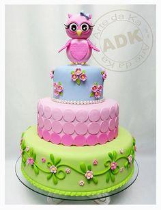 Colorful Pink Owl Garden Birthday Cake