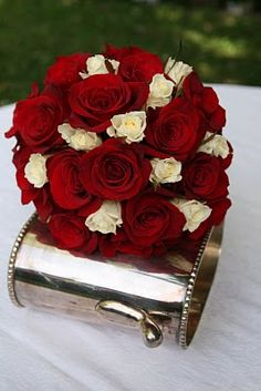 Red And Ivory Wedding Bouquet