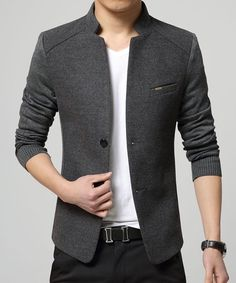 Solid Color Knit Splicing Stand Collar Long Sleeve Slimming Trendy Cotton Blend Blazer For Men
