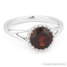 Gemstone 177020: 1.71Ct Round Cut Garnet And Diamond Halo Engagement Promise Ring In 14K White Gold BUY IT NOW ONLY: $359.1