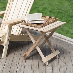 Adirondack Table Side Patio Chair Quick Folding Unfinished Stool Patio Furniture