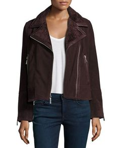 Neiman Marcus Suede Moto Jacket w/ Shearling Collar, Bordeaux