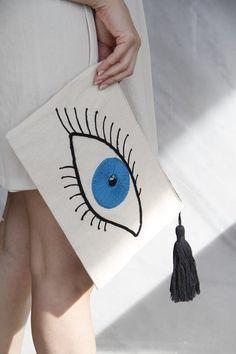 ''It's All Greek On Me'' Evil Eye Clutch…