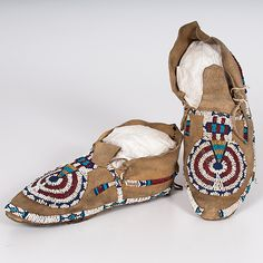 Cheyenne Beaded Hide Moccasins from the Monroe Killy (1910-2010) Collection (9/11/2015 - American Indian: Timed Auction - ends 9/21)