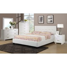 Modern 1 Piece Bedroom Queen Or Full Size Bed White Faux Leather Furniture White Bedroom Set, 5 Piece Bedroom Set, Bedroom Sets, Bedroom Table, Full Bedroom Furniture Sets, Bed Furniture, Furniture Stores, Glass Furniture, White Furniture