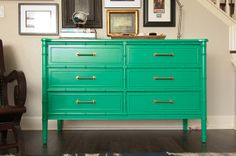 Henry Link Bali Hai 6 Drawer Faux Bamboo by Whisper Design Studio Green Painted Furniture, Bamboo Furniture, Refurbished Furniture, Colorful Furniture, Vintage Furniture, Furniture Update, Furniture Makeover, Home Furniture, Interior Design Boards