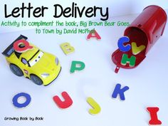 Letter Delivery- an activity to compliment the book, Big Brown Bear Goes to Town from Growing Book by Book