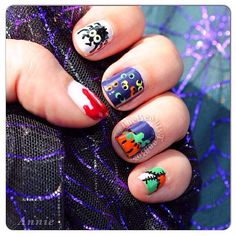'ClusterFright' Halloween nails  I used almost all @essiepolish which are my absolute favorite nail polishes! #Essie polishes used: tuck it in my tux, no more film, mojito madness, lollipop, head mistress, fear or desire, & brazilliant. #SallyHansen black nail art pen & Xtreme wear polish in mellow yellow. #SecheVite dry fast top coat. @wetnwild_official wild shine polish in white. #nailart #nails #halloweennails #halloweennailart #thebeautytoolbox #mujjies #mua #rmua #makeup #beauty…
