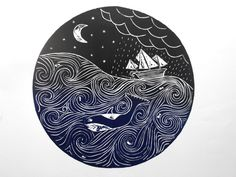 Stormy Seas Lino Cut by Hannah Catchlove, via Behance